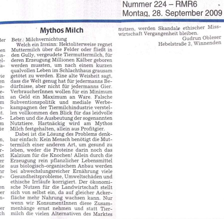Leserbrief Mythos Milch